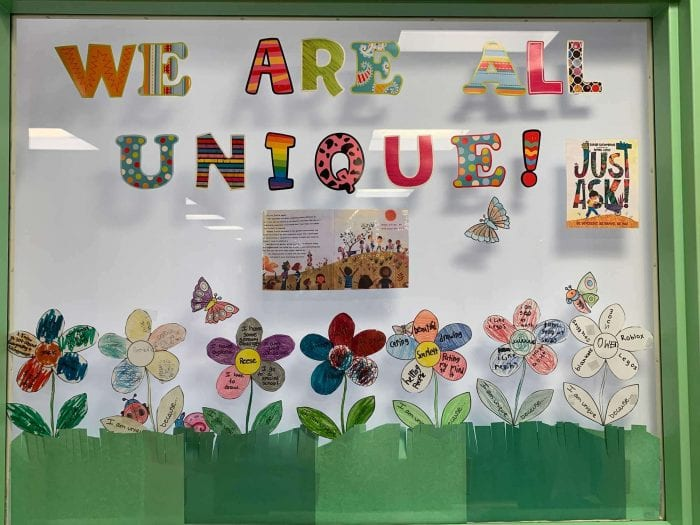 A elementary school bulletin board that says, We Are All Unique